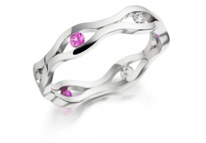 LADIES PINK SAPPHIRE AND DIAMOND COLOURED STONE RING REF:GP2943