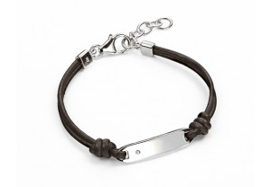 Boys Tag Bracelet With Dark Brown Leather set with a diamond REF:GP4220