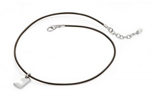 Boys Dog Tag With Dark Brown Leather set with a Diamond REF:GP4222