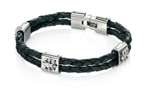 Double strand black leather bracelet REF:GP4231