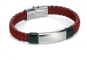Red weave leather bracelet with stainless steel ID tag REF:GP4250