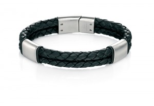 Black leather bracelet REF:GP4238