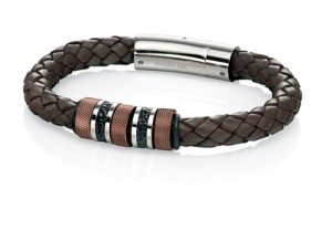 Stainless Steel and brown leather woven bracelet REF:GP4243