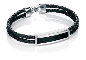 Silver Black agate inlay ID woven bracelet REF:GP4256