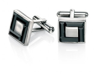 Stainless Steel swarovski jet cufflinks REF:GP4251