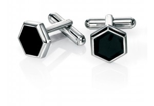 Stainless Steel and black enamel cufflinks REF:GP4252