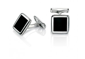 Silver Black agate cufflink with rope engraved effect REF:GP4258