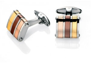 Stainless steel cufflinks with gold, brown and rose gold PVD REF:GP4244