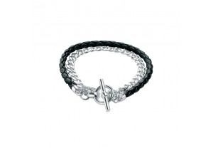 CURB CHAIN AND PLAITED BLACK LEATHER BRACELET  REF:GP2483