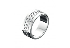 SILVER BAND WITH RIBBED DETAIL REF:GP2446