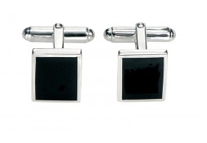 BLACK AGATE RECTANGULAR CUFFLINKS  REF:GP2489