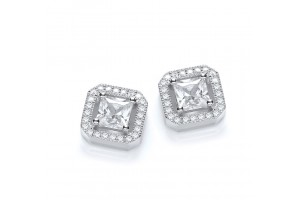 MICRO PAVE' FANCY CZ SQUARE STUD EARRINGS REF:GP2809