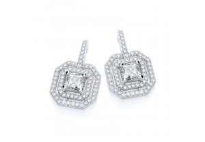 MICRO PAVE' FANCY CZ  SQUARE DROP EARRINGS REF:GP2808