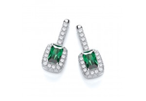 MICRO PAVE' SMALL FANCY GREEN CZ EARRINGS REF:GP2817