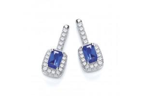 MICRO PAVE' FANCY BLUE CZ DROP EARRINGS REF:GP2813