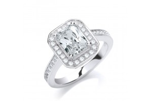 MICRO PAVE' EMERALD SHAPED CZ RING REF:GP2810