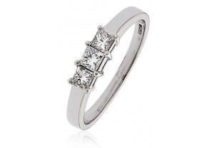 LADIES 0.50CT PRINCESS CUT PLATINUM DIAMOND RING REF:GP604