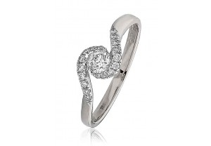 LADIES MULTI-STONE ROUND BRILLIANT CUT  DIAMOND RING 0.30CT GP962