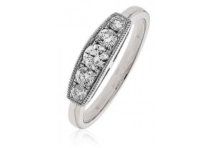 LADIES MULTI-STONE ROUND BRILLIANT CUT DIAMOND RING 0.50CT REF:GP964