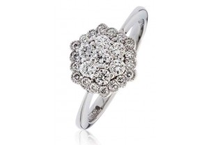 LADIES MULTI-STONE ROUND BRILLIANT CUT  DIAMOND RING 0.55CT GP997