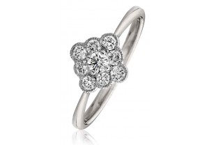 LADIES MULTI-STONE ROUND BRILLIANT CUT DIAMOND RING 0.40CT GP1003
