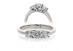 LADIES 1.00CT ROUND BRILLIANT CUT PLATINUM  DIAMOND RING REF:GP619