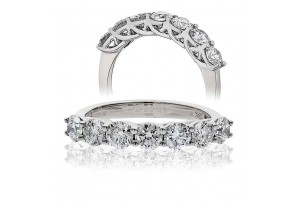 LADIES 1.00CT ROUND BRILLIANT CUT PLATINUM DIAMOND RING REF:GP620