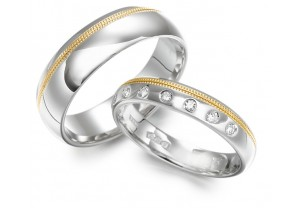 LADIES  2-TONE DIAMOND SET WEDDING RING 0.10CT REF:GP2146