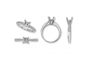 LADIES PLATINUM ROUND SEMI-SET  RING MOUNT REF:GP3333