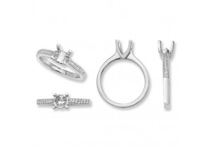 LADIES PLATINUM ROUND SEMI-SET  RING MOUNT REF:GP3336