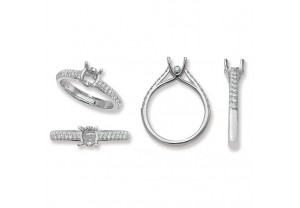 LADIES PLATINUM ROUND SEMI-SET  RING MOUNT REF:GP3338