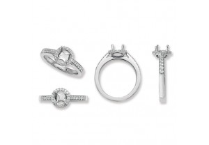 LADIES PLATINUM ROUND SEMI-SET  RING MOUNT REF:GP3340