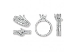LADIES PLATINUM ROUND SEMI-SET  MATCHING RING MOUNTS  REF:GP3342