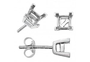 LADIES 18CT GOLD, PRINCESS CUT SINGLE STONE EARRING  MOUNTS REF:GP3393