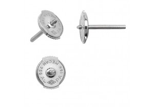 LADIES 18CT WHITE GOLD SPRING LOCK  EARRING BACKS 6MM REF:GP3394