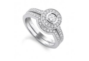 VINTAGE STYLE DIAMOND ENGAGEMENT & WEDDING RING SETS 0.20CT  - REF:GP2409