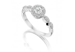 VINTAGE STYLE DIAMOND ENGAGEMENT & WEDDING RING SETS 0.63CT  - REF:GP2410