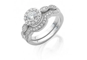 VINTAGE STYLE DIAMOND ENGAGEMENT & WEDDING RING SETS 0.17CT  - REF:GP2411