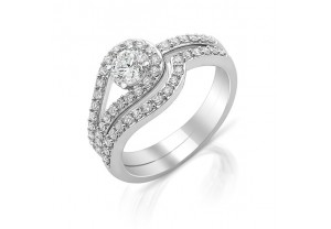 VINTAGE STYLE DIAMOND ENGAGEMENT & WEDDING RING SETS 0.17CT  - REF:GP2417