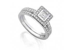VINTAGE STYLE DIAMOND ENGAGEMENT & WEDDING RING SETS 0.17CT  - REF:GP2423